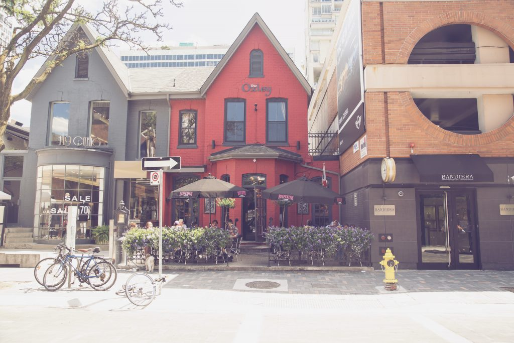 Red Oxley shop building in Yorkville, Toronto