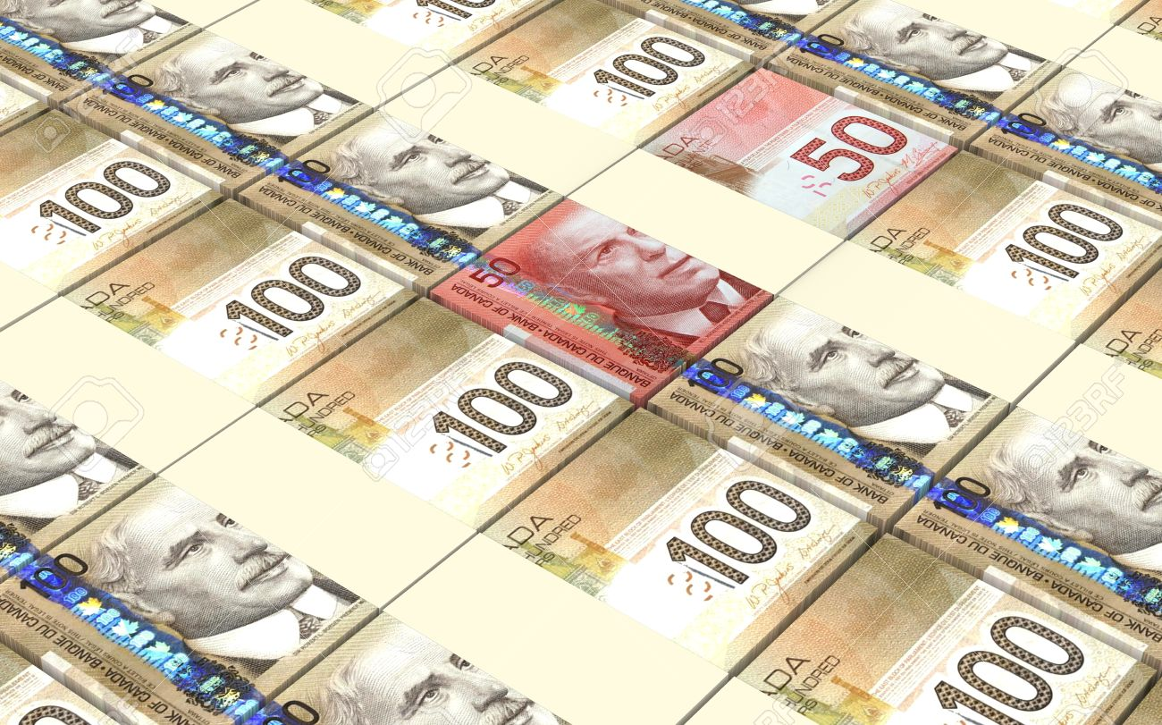 Stacked Canadian Hundred And Fifty Dollar Bills