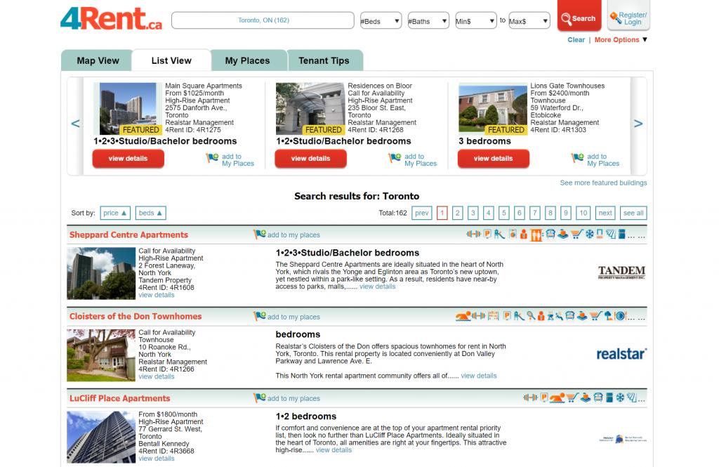 4rent.ca homepage
