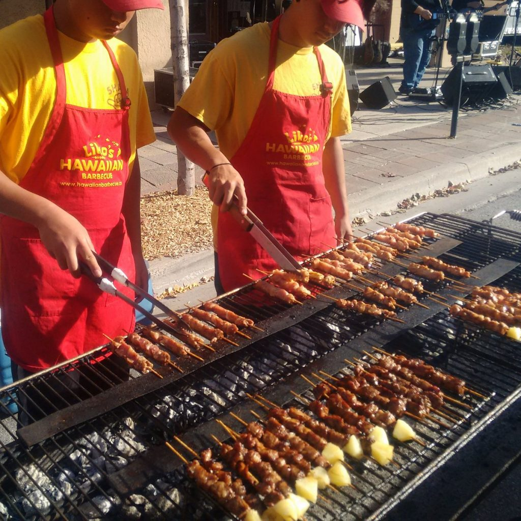 skewers on grill from Liko's hawaiian barbeque