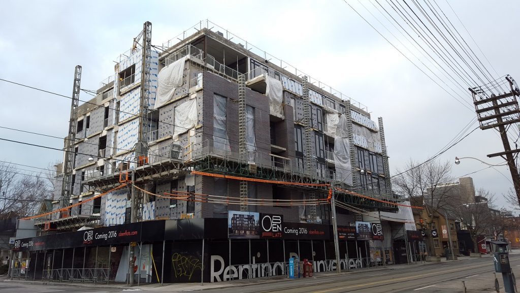 building in construction at leslieville east, toronto