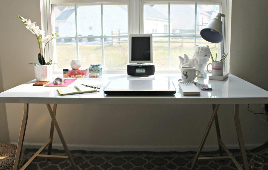 Modern desk setup with laptop