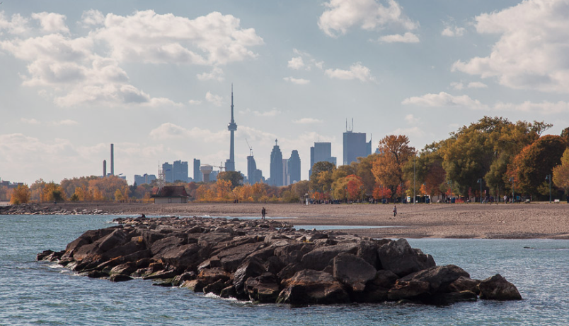 Toronto Beaches with view of rock and CN tower in autumn