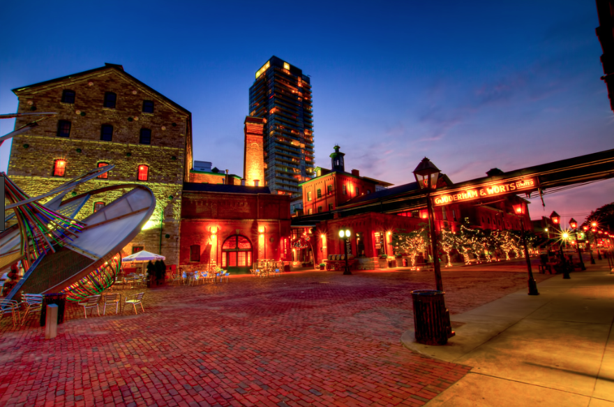 Distillery District at night with orange lights