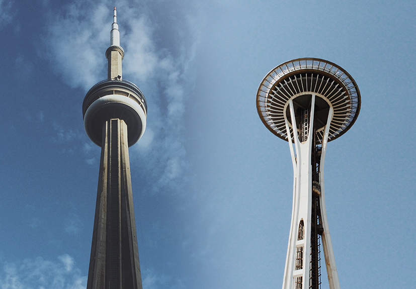 seattle space needle and toronto cn tower