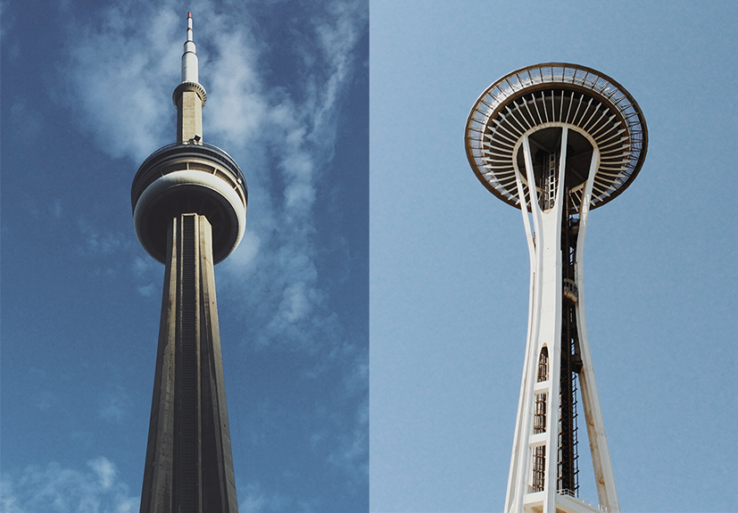 Seattle S Space Needle On The Left And Toronto S Cn Tower