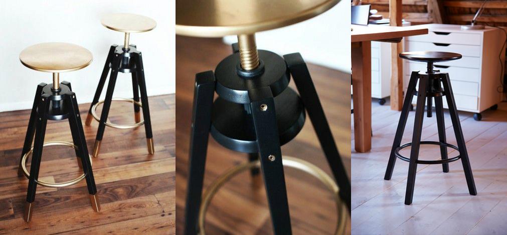 golden industrial bar chair stools