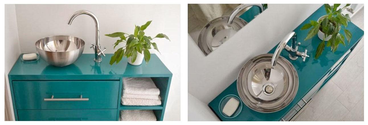 Awesome Ikea Hack Of The Week Make A Sleek Metallic Retro Bathroom Vanity With A Salad Bowl