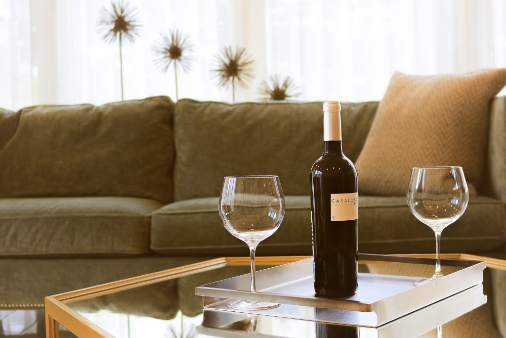wine on table with glasses
