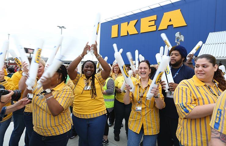 Ikea employees celebrating