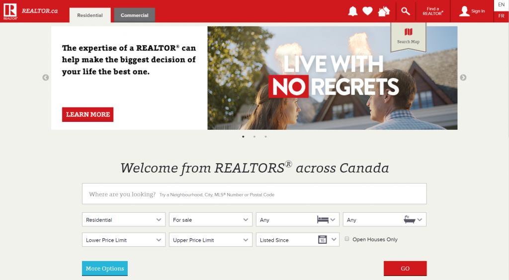 realtor.ca homepage