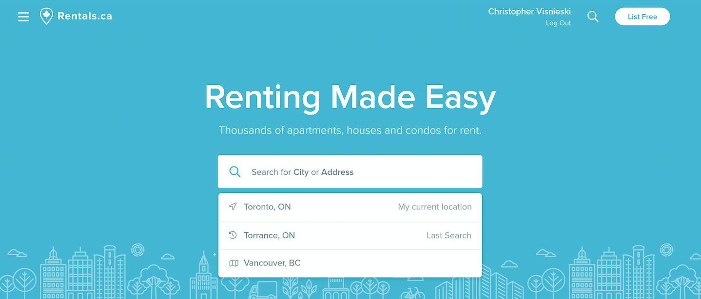 rentals.ca homepage search