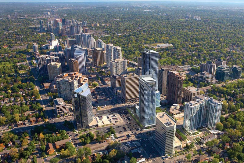 Birdseye view of yonge and sheppard in toronto